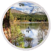 Round Beach Towel featuring the photograph Fishing In Manzanita Lake by James Eddy