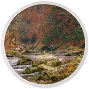 Fishing In Mountain Stream Round Beach Towel by Tom Claud