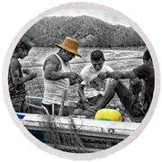 Fishing In Puerto Lopez Round Beach Towel