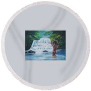 Fishing In The River Round Beach Towel