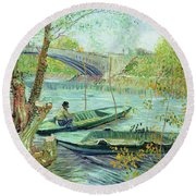 Fishing In The Spring Round Beach Towel