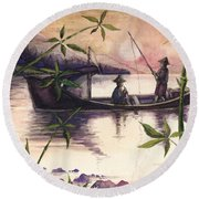Fishing In The Sunset   Round Beach Towel
