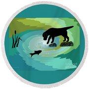 Fishing Labrador Dog Round Beach Towel