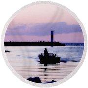 Fishing Lake Ontario  Lake Ontario  Round Beach Towel
