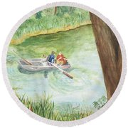 Round Beach Towel featuring the painting Fishing Lake Tanko by Vicki  Housel