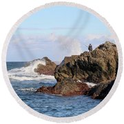 Round Beach Towel featuring the photograph Fishing by Linda Lees