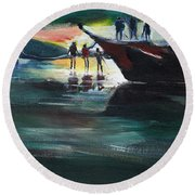 Fishing Line Round Beach Towel