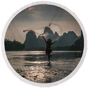 Fisherman Casting A Net. Round Beach Towel