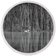 Round Beach Towel featuring the photograph Fishing Norris Lake by Douglas Stucky