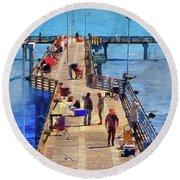 Fishing Off Galvaston Pier Round Beach Towel