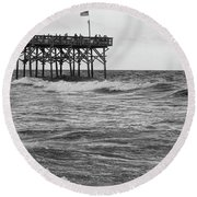 Round Beach Towel featuring the photograph Fishing Off The Pier At Myrtle Beach by Chris Flees