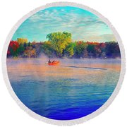 Fishing On Crystal Lake, Il., Sport, Fall Round Beach Towel