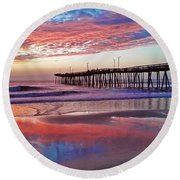 Fishing Pier Sunrise Round Beach Towel by Suzanne Stout