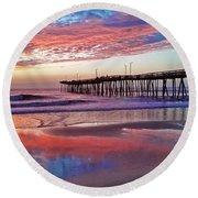 Fishing Pier Sunrise Round Beach Towel