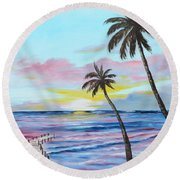 Fishing Pier Sunset Round Beach Towel