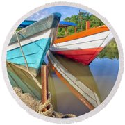 Fishing Pirogues  Round Beach Towel