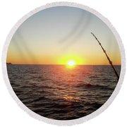 Fishing Pole Taken On 35mm Film Round Beach Towel