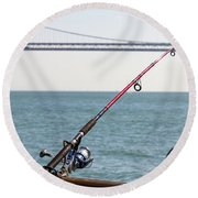 Fishing Rod On The Pier In San Francisco Bay Round Beach Towel