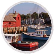 Fishing Shack Round Beach Towel by John Scates