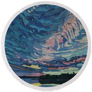 Fishing Sunset Round Beach Towel