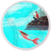 Round Beach Towel featuring the painting Fishing Surprise by Leslie Allen