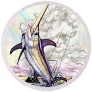 Fishing Swordfish Round Beach Towel