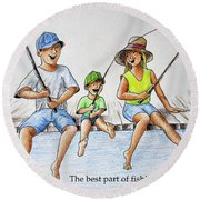 Fishing Tale Round Beach Towel
