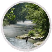 Fishing The Gunpowder Falls Round Beach Towel by Donald C Morgan