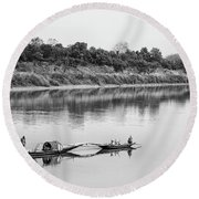 Fishing The Lower Ganges Round Beach Towel