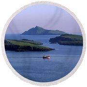 Fishing Trawler, Blasket Islands, Co Round Beach Towel