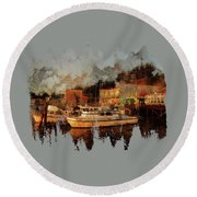 Round Beach Towel featuring the photograph Fishing Trips Daily by Thom Zehrfeld