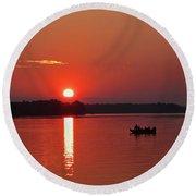 Fishing Until Sunset Round Beach Towel
