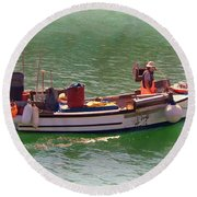 Round Beach Towel featuring the digital art Fishing Vessel  by Paul Gulliver