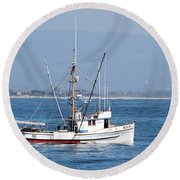 Fishing Vessel Sun Ra Round Beach Towel