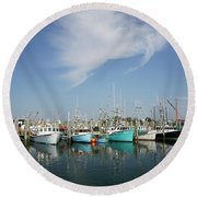 Fishing Vessels At Galilee Rhode Island Round Beach Towel