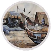 Fishing Village Of Puri Round Beach Towel