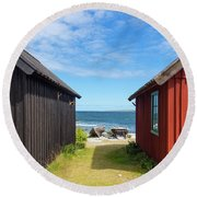 Fishing Village On Faro Island, Sweden Round Beach Towel