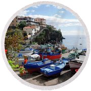 Fishing Village On The Island Of Madeira Round Beach Towel