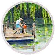 Round Beach Towel featuring the painting Fishing With Grandpa by Carlin Blahnik CarlinArtWatercolor