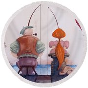 Round Beach Towel featuring the painting Fishing With Grandpa by Geni Gorani