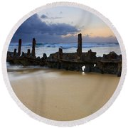 Fishing With History Round Beach Towel