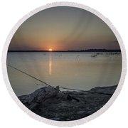 Fishing Poles Round Beach Towel by Leticia Latocki