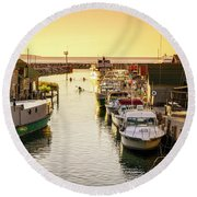 Round Beach Towel featuring the photograph Fishtown by Alexey Stiop