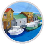 Round Beach Towel featuring the painting Fishtown by Rodney Campbell