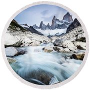 Fitz Roy On A Cloudy Day  Round Beach Towel