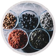 Five Bowls Of Colorful Healthy Snacks Round Beach Towel
