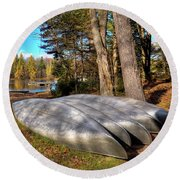 Round Beach Towel featuring the photograph Five Canoes At Woodcraft Camp by David Patterson