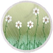 Five Days Of Daisies Round Beach Towel