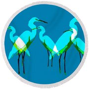 Round Beach Towel featuring the painting Five Egrets by David Lee Thompson
