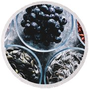 Five Glass Bowls Of Different Superfoods. Round Beach Towel